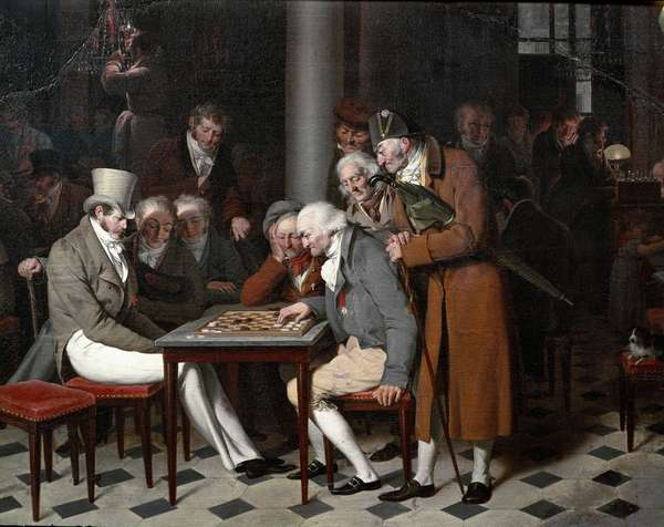 """The inside of a cafe says """"the ladies' party at the Cafe Lamblin"""" at the Palais Royal in Paris. Detail. Painting by Louis Leopold Boilly (1761-1845), circa 1820. Sun 0,38x0,55 m Chantilly, musee Conde"""