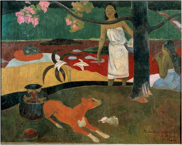 Two Tahitian women and a dog. (Tahitian pastoral). 1893 (Oil on canvas)