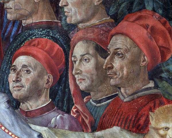 "The Journey of the Magi Cortege of the Magi of Jerusalem a Bethleem """" Viaggio dei Magi"""" or """" Cavalcata dei Magi"""""" (detail of faces in the cortege of the Magi Magi) Fresco by Benozzo Gozzoli (1420-1497), 1460 Florence, Palazzo Medici Riccardi, Capella dei Magi Italy"