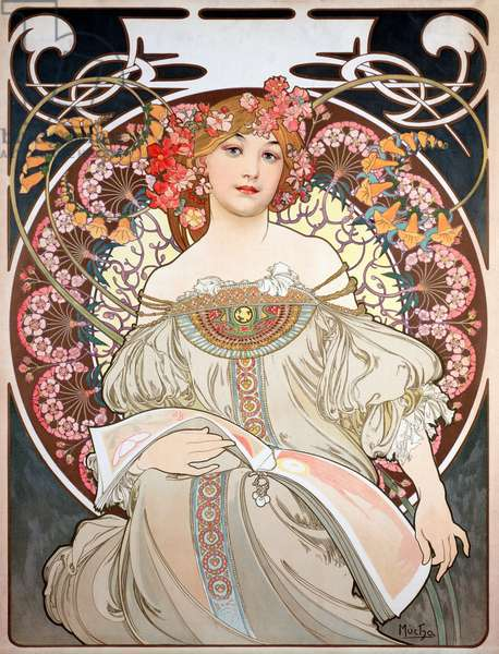 Poster by Alphonse Mucha (1860-1939) for the calendar of the year 1896 - Calendar illustration by Alphonse Mucha (1860-1939), 1896 (Dim 68x50 cm) - Private collection