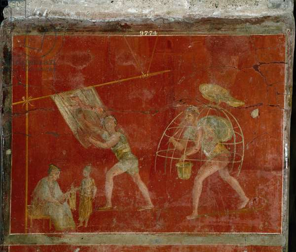 "Roman art: """" fullonica"""""" or tread"""" scene representing the cleaning of clothes. Fresco from the villa Fullonica stephani (La fullonica de Stephanus) in Pompei, which was used as a washing house and dyeing. Painting from the 1st century AD. Naples, Museo Archeologico Nazionale"