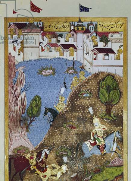 Representation of the Ottoman Sultan Suleiman the Magnificent and his army attacking the city of Belgrade. 1558 (miniature)