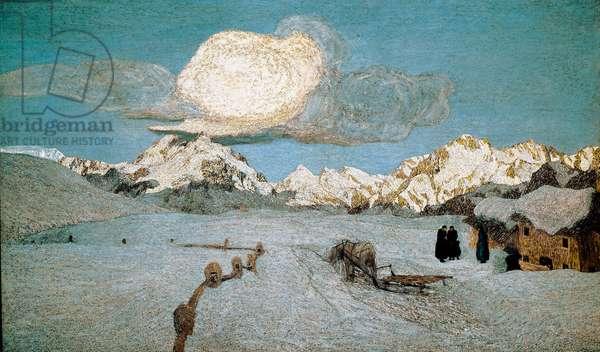 "Triptych of Nature or Engadin: """" Death"""" Painting by Giovanni Segantini (1858-1899) 1896-1899 Sun. 192x320 cm Saint Moritz, Musee Segantini"