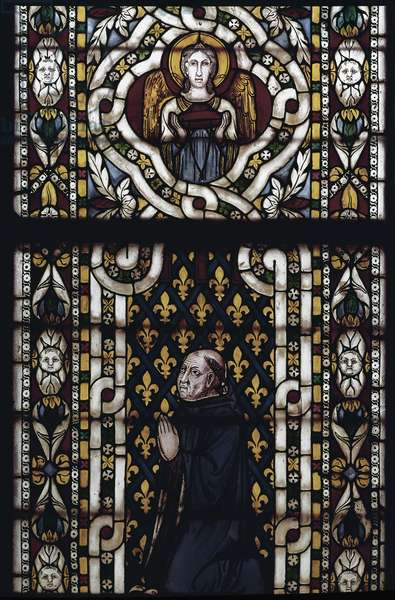 Cardinal Gentil of Montefiore (Gentile Partino da Montefiore, Gentilis of Monteflorum, ca. 1240-1312) kneels - Stained glass by Simone Martini (ca. 1284-1344), cm. 570x400. Basilica of St. Francis of Assisi, Lower Church, Chapel of St. Louis, Assisi