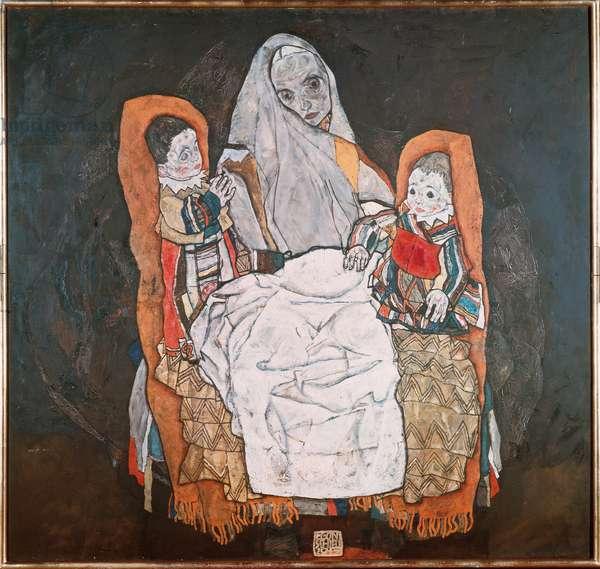 Mother with her two children, III (Mother with her children) Painting by Egon Schiele (1890-1918) 1914 Vienna, Museum Karlsplatz