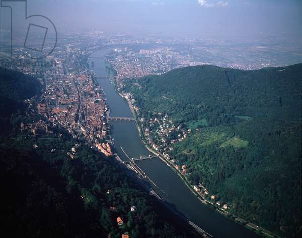 Aerial view of city of Heidelberg with castle on Neckar river, 1990 - Photography