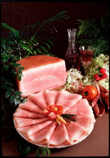 Diet: still life cooked ham - (Food still life, ham) Italy