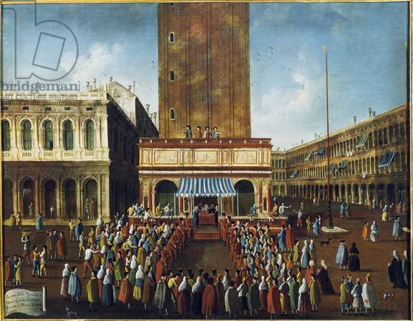 """Public Lottery at the Loggetta, the Piazza San Marco, Venice """""""" - The game of the lottery (raffle) at the Loggetta in St. Mark's Square in Venice"""""""" Painting by Gabriel Bella (1730-1799) 18th century Venice, Foundation """""""" Querini Stampalia"""""""""""""""