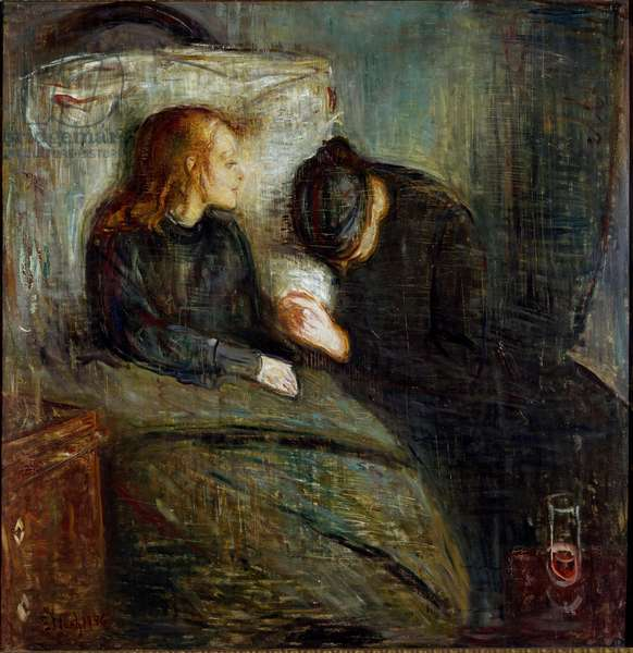 The sick child Painting by Edvard Munch (1863-1944), 1896 Sun. 121,5x118,5 cm Oslo, Kommunes Kunstsamlinger Munch-Museet (Musee Munch)