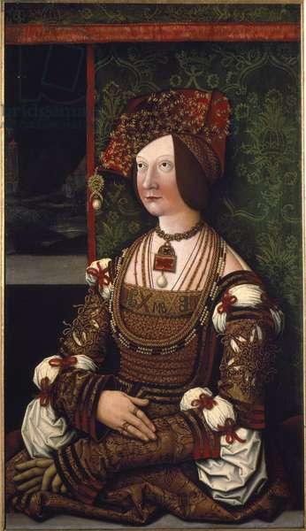 "Family of Emperor Maximilian I: Portrait of Impress Bianca Maria (Blanche-Marie) Sforza (1472-1510)"""" Painting by Bernhard Strigel (1460-1528) Sun. 76x43,5 Vienna, Kunsthistorisches Museum, inv. 4404"