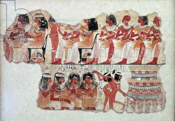 Egyptian antiquite: scenes of everyday life, a banquet. Paintings on stucco from the tomb of the noble Nebamon. 18th dynasty. Around 1290-1224 BC. Thebes, Egypt. British Museum, London