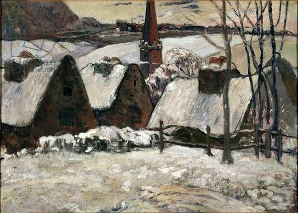 Breton village under the snow (oil on canvas, 1894)