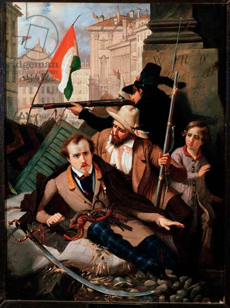 Risorgimento: Fighting in front of the Litta Palace in Milan (oil on canvas, 1848)