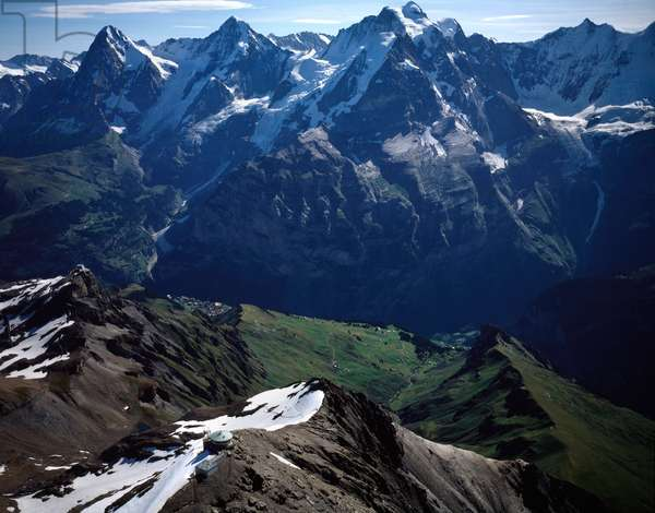 Aerial view of Bernese Alps, from left to right Birg mount, Eiger mount, Monch mount, schlthor mount, and Jungfrau mount, canton of Bern, 1990 ca - Photography