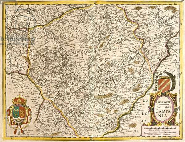 """Map of the Count of Champagne (France) - Strong water extracted from """"Theatrum Orbis"""""""", 1671, by Frederick De Wit (Frederico de Witt) (1630-1706)"""