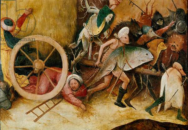 The hay tank or hay triptych (hay cart): Central panel detail. Monster figures, anthropomorphic characters and a man crashes under a wheel. Painting by Hieronymus Van Aeken (Aken) dit Jerome Bosch (1450-1516), 1500. Oil on wood Madrid, Museo del Prado