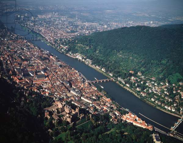 Aerial view of city with the castle on Neckar river, 1990 - Photography