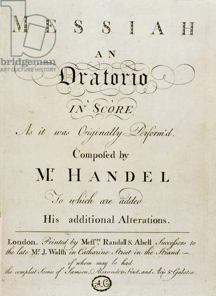 Frontispice of the score 'The Messiah' (The Messiah) by naturalised English German composer George Frederick Handel (Georg Friedrich Handel, 1685-1759) 1767. Editori Randall et Abell, London Bologna, Civico Museo Bibliografico Musicale