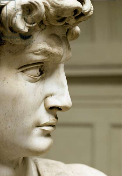 David Detail. Marble sculpture made by Michelangelo Buonarroti dit Michelangelo (Michelangelo or Michel Ange, 1475 - 1564), 1504. Galleria dell'Accademia, Florence
