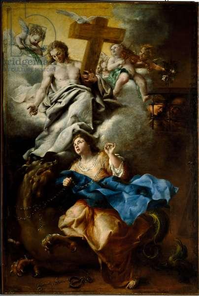 The ecstasy of Saint Margarita of Cortona (Margherita da Cortona), Franciscan Painting by Bartolomeo Guidobono (1654-1709) Genes, Musei di Strada Nuova (ex Palazzo Bianco)