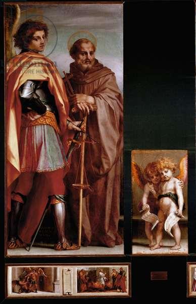 "Altarpiece of Vallombrosa: """" Saints Michael and John Gualbert (Giovanni Gualberto, ca. 995-10734"" Predelle of the Four Saints, side panels Painting by Andrea del Sarto (Andrea d'Agnolo) (1486-1530) (Vallombrosa Altarpiece: st Michael and Giovanni Gualberto, side panels) 1528 Dim 186x175 cm Florence, Galleria deglo Uffizi (Uffizi)"