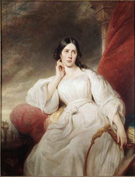 """Portrait of Maria Garcia called the Malibran (1808-1836) singer in the role of Desdemone for Othello"""" by Gioachino Rossini"""""""" (Maria Malibran-Garcia (1808-1836) in the role of Desdemona, act III of Othello by Rossini) Painting by Henri Decaisne (1799-1852) 1830 Dim 1,38 x 1,05 m Paris Ee Carnavalet"""