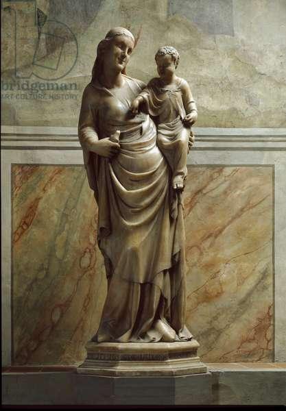 Virgin and Child Marble Sculpture by Nino Pisano (14th century) Florence, Chiesa Santa Maria Novella Italy