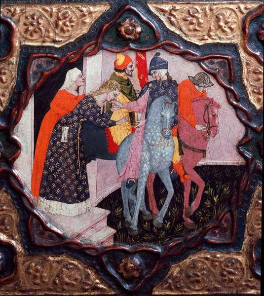 "Tenth day, ninth news: the day of messer Torello. Painted box illustrating the ""Decameron"""" by Giovanni Boccaccio (Jean Boccaccio) (1313-1375). 15th century. Florence, Museo Nazionale del Bargello"