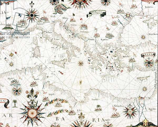 View of the Mediterranean Sea and the countries bordering it - Detail of the portulan of Castellini, 17th century (Map of the Mediterranean Sea and coastline,