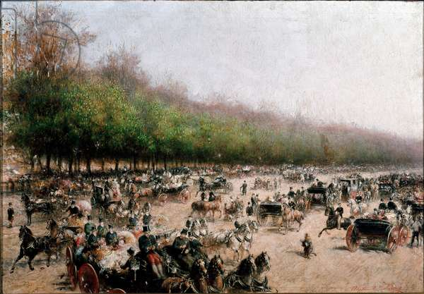 View of carriages traffic near porta Venezia in Milan (painting, c.1850)