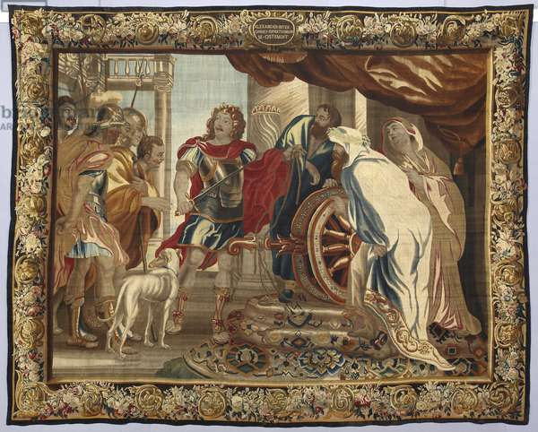 King Alexander the Great slices the Gordian knot. Tapestry made in the manufactures of Brussels. 16th century Genes, Musei di Strada Nuova