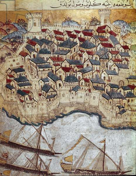 A fortified city on the bank of the Danube, conquered by Ottoman Sultan Suleiman the Magnificent during his march on Budapest and Vienna. 16th century (miniature)
