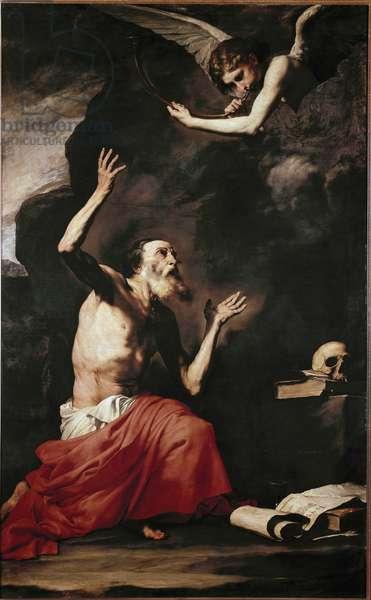 Saint Jerome and the Angel. Painting (Vanite) by Jusepe de Ribera (1591-1652). Naples. Museo di Capodimonte