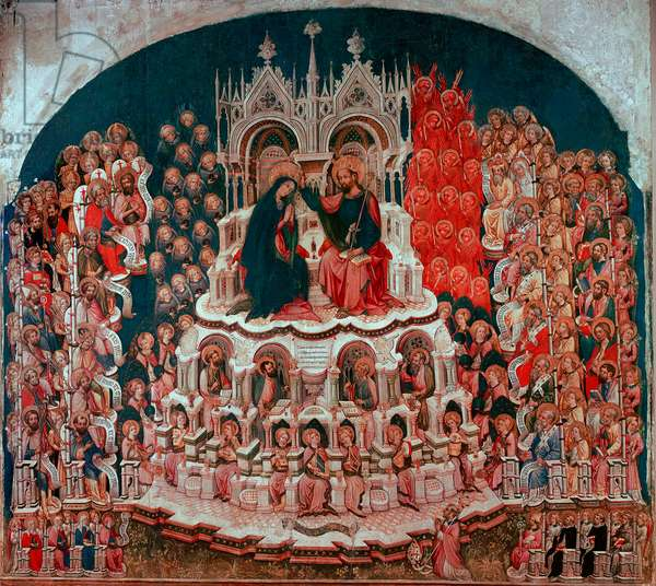 The coronation of the Virgin in Paradise painting on wood by Jacobello del Fiore (1370-1439). 15th century Gallery of the Accademia Venice