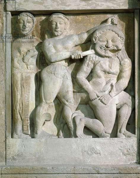 Perseus beheading Medusa, Selinunte, 301 BC (marble)