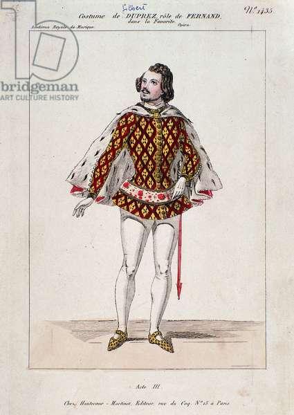 "Portrait of Gilbert Duprez, French tenor and composer in ""La Favorite"" by Gaetano Donizetti (coloured engraving)"