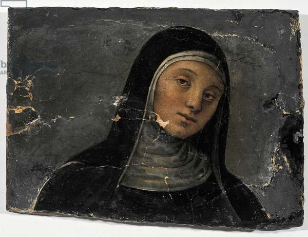 Saint Scholastica (about 480-543) (St Scholastica). Painting by Pietro Vannucci, dit Perugino (1445/50-1523) and assistants, oil on wood (fragment). Perugia, Chiesa di San Pietro, Italy