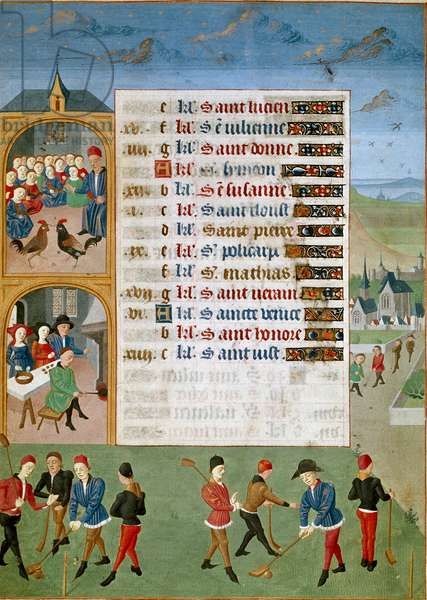 """Calendar: February, the different games: a kind of cricket, the rooster fights - Miniature of the Master of Jean Rolin from the manuscript """""""" Les Hours d'Adelaide de Savoie, Duchess of Burgundy"""", 1460-1465 Chantilly, Musee Conde"""
