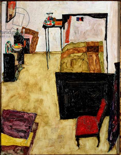 The artist's room in Neulengbach. Painting by Egon Schiele (1890-1918), 1911. Oil on canvas. Dim: 40x31,7cm. Vienna, Historisches Museum of the City