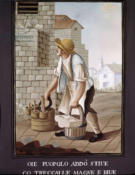 Neapolitan small metiers: the travelling seller of food products (grocer) - (Old trade: the itinerant grocer) Watercolour of the 19th century - Naples Museo Nazionale di San Martino