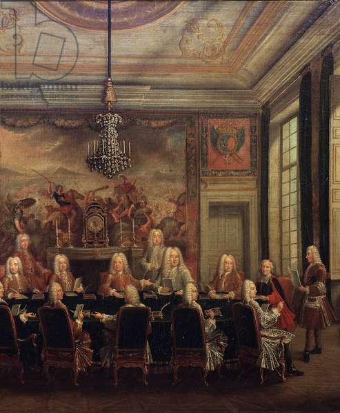 The Council of Regency for the Minority of Louis XV, 16th September 1715, detail (oil on canvas, 18th century)