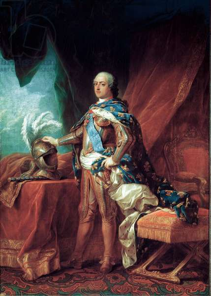 Portrait of King Louis XV (1710-1774) the Good Loves, King of France - Painting by Carle van Loo (Charles Andre, 1705-1765), 1751 - Versailles, Castles of Versailles and Trianon