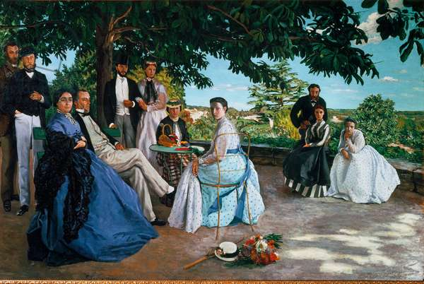 "Family meeting, 1867, Portrait of a family of the French bourgeoisie gathered in a garden, From left to right: Jean Frederic Bazille, his uncle Monsieur des Hours, his mother and father, his cousin Pauline and husband Monsieur Teulon, his aunt Madame des Hours and his daughter Therese, Marc Bazille and his wife and Camille des Hours, Painting by Jean- Frederic Bazille (1841-1870), Sun: 1,52x2,3 m Paris, Musee d'Orsay - """" Family reunion"""", 1867, Left to right: Jean Frederic Bazille, his uncle M Des Hours, his mother and his father, his cousin Pauline and her husband M Teulon, his aunt Mme Des Hours and her daughter Therese, Marc Bazille, his wife Oil and her wife, on canvas by Jean-Frederic Bazille ( 1841-1870), Sun: 1,52x2,3 m, Paris, Musee d'Orsay"