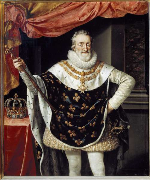 Portrait of Henry IV King of France (1553-1610). It has a strawberry collar, the necklace of the insignia of the Order of the Holy Spirit (Order of the Holy Spirit), a blue cape with lily flowers and holds a sceptre topped by a flower of lilies. Painting by Frans Pourbus Le Jeune (Francois (Franz) Porbus, 1569-1622) Firenze, Galleria Palatina