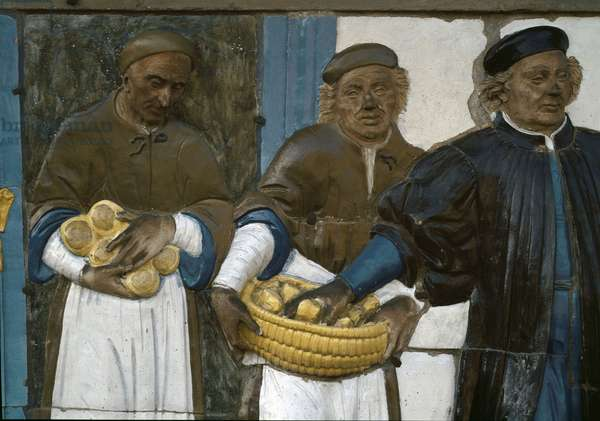 The Seven Works of Mercy, feeding the Hungry, 1526-1528) (low Terracotta relief)