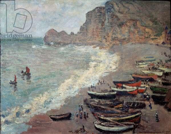 Etretat, beach and the Porte d'Amont, 1883 (oil on canvas)