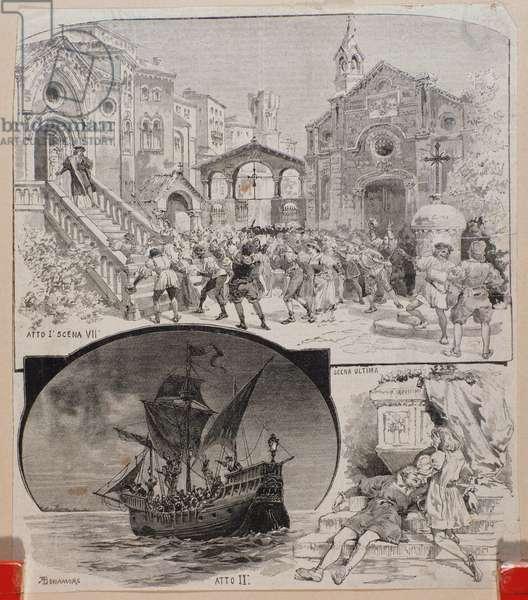 """Illustrations for the opera Cristoforo Colombo"""""""" by the italian composer Alberto Franchetti (1860-1942)"""""""""""" Illustrations of the opera """"Cristoforo Colombo"""""""""""" by Alberto Franchetti. circa 1892 Private collection"""