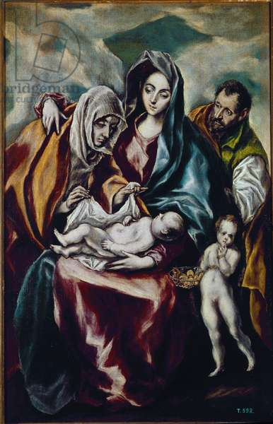 Virgin and Child Representation of the Holy Family (Mary, Jesus, Joseph) with Saint John the Baptist and Saint Anne.1590-1600 Painting by Domenikos Theotokopoulos, known as Le Greco (1541-1614). Oil on canvas. Dim: 107x69 cm. Madrid, Prado Museum.