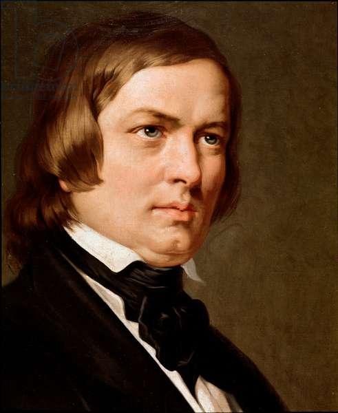Portrait of Robert Schumann (1810-1856), German composer. Anonymous painting. Conservatorio di musica San Pietro a Majella, Naples.