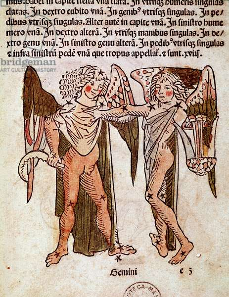 """The constellation of Gemeaux Detail derives from """""""" Poeticon astronomicon"""""""" attributed to the Roman historian Hygin (Gaius Julius Hyginus) (1st century BC) (Gemini (twins) constellation, from """""""" Poeticon astronomicon"""""""" attributed to Hyginus (1st century BC) 1482 Venice, Biblioteca Marciana"""